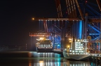 Container terminal at night